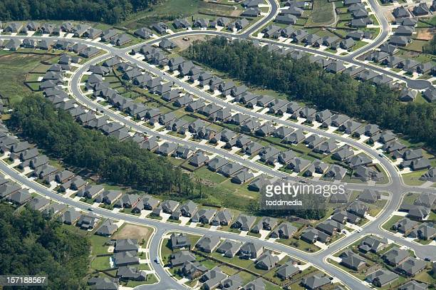 aerial of suburb housing - birmingham alabama stock pictures, royalty-free photos & images