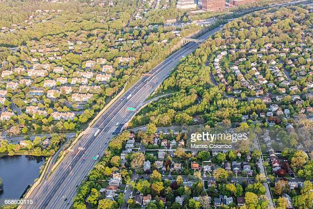 aerial of suburb near englewood new jersey, usa - new jersey stock pictures, royalty-free photos & images