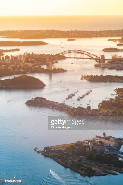 aerial of sydney harbour at sunrise - sydney harbor stock pictures, royalty-free photos & images