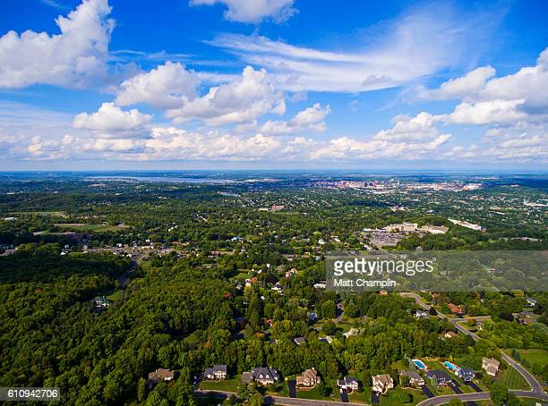 aerial of syracuse, new york and onondaga lake - syracuse new york stock pictures, royalty-free photos & images