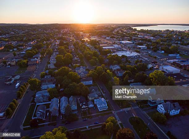 aerial of syracuse, new york during summer evening - syracuse new york stock pictures, royalty-free photos & images