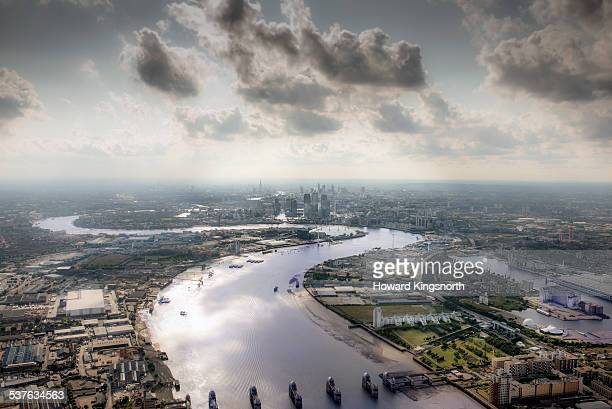 Aerial of Thames and The City of London
