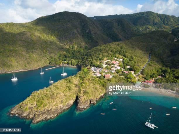 aerial of the beaches of anse dufour and anse noire, martinique - isla martinica fotografías e imágenes de stock