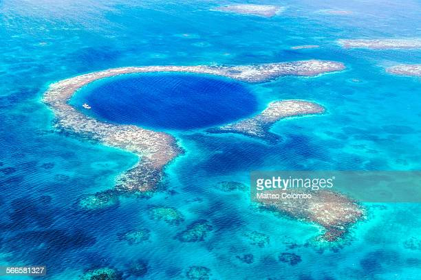 Aerial of the Blue Hole, Lighthouse reef, Belize