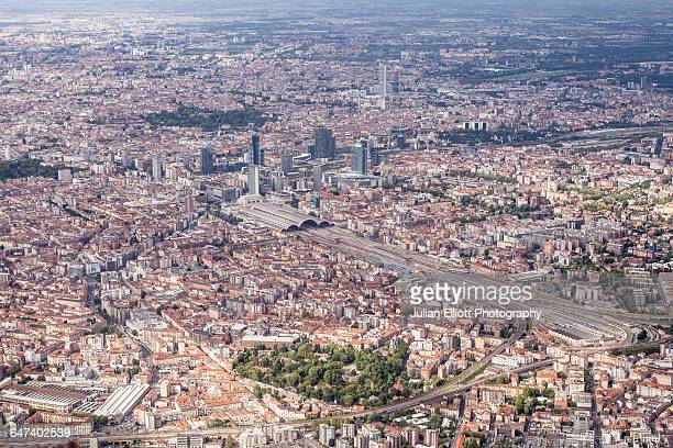 Aerial of the city of Milan, Italy.