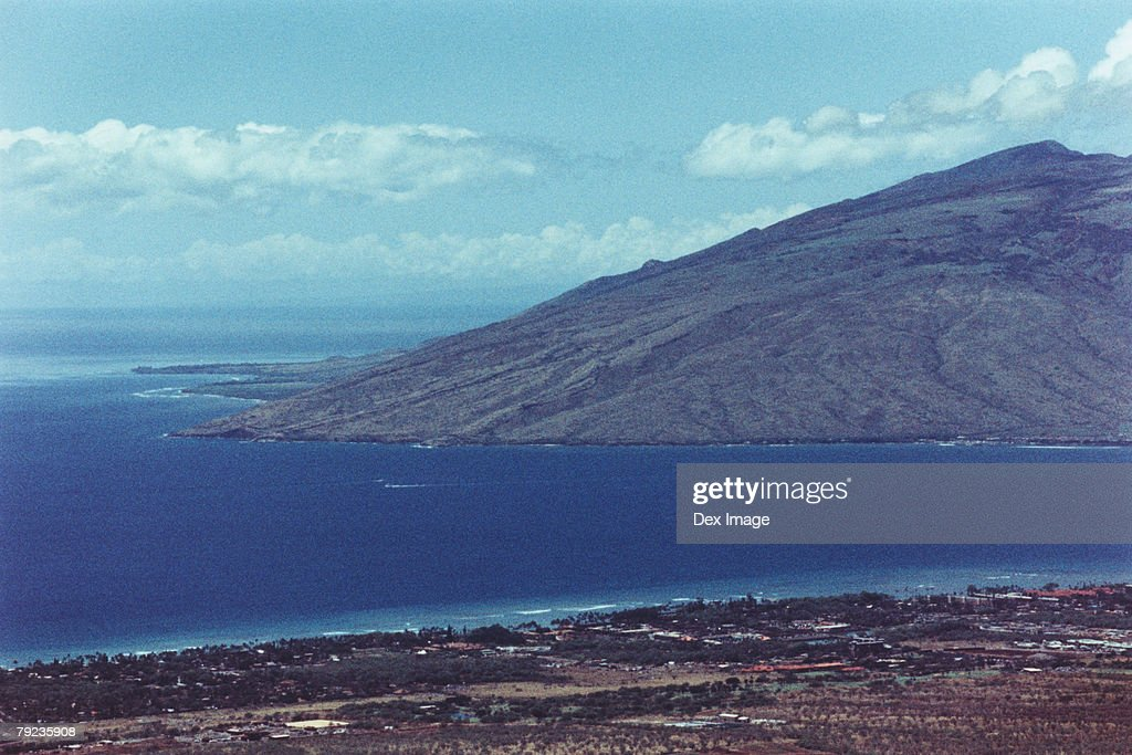 Aerial of the coastline of Maui and surrounding islands. : Stock Photo