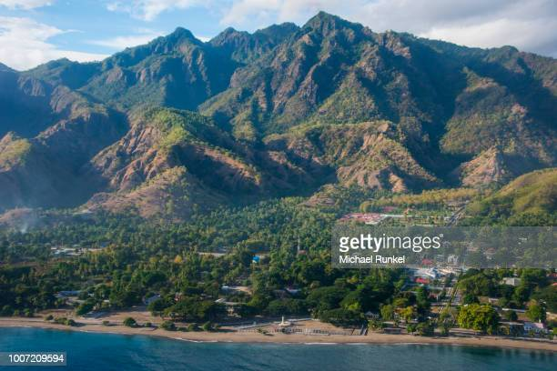 aerial of the costal exclave oecusse (oecussi), east timor, southeast asia, asia - timor oriental fotografías e imágenes de stock