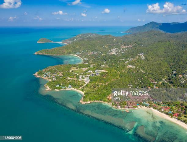 aerial of the haad yao, haad salad and ko ma, koh phangan, thailand - indochina stock pictures, royalty-free photos & images