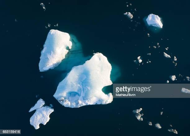 Aerial of the Icebergs in Jokulsarlon