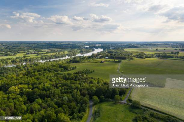 aerial of the loire river and val de loire near tours, france. - loire valley stock pictures, royalty-free photos & images