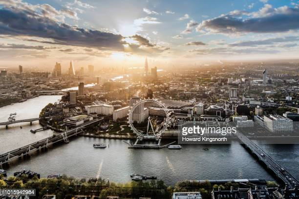 aerial of the london eye at sunrise - london england stock pictures, royalty-free photos & images