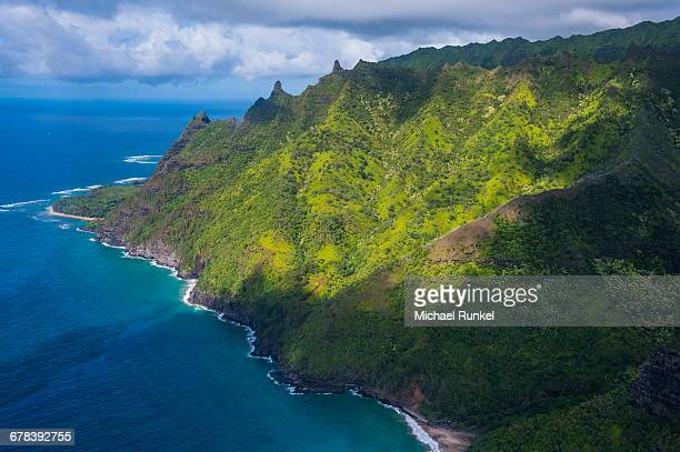 aerial of the napali coast, kauai, hawaii, united states of america, pacific - michael stock photos and pictures