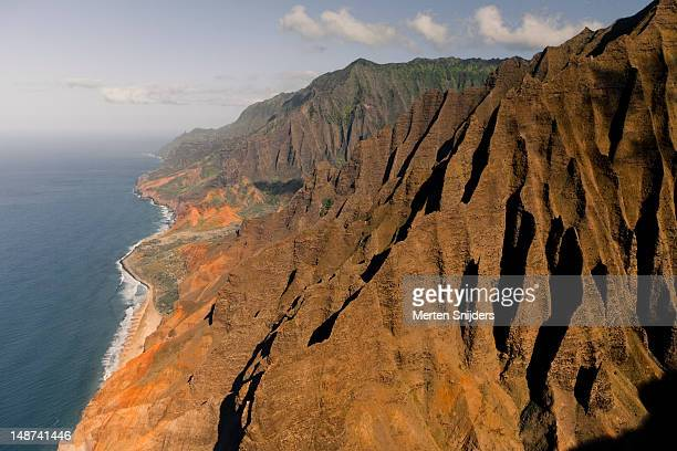 Aerial of the Napali coast, ridges and inlets.