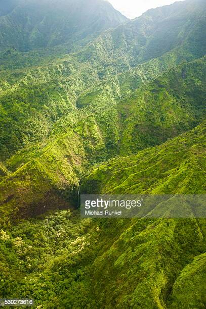 aerial of the rugged interior of the island of kauai, hawaii, united states of america, pacific - michael stock photos and pictures