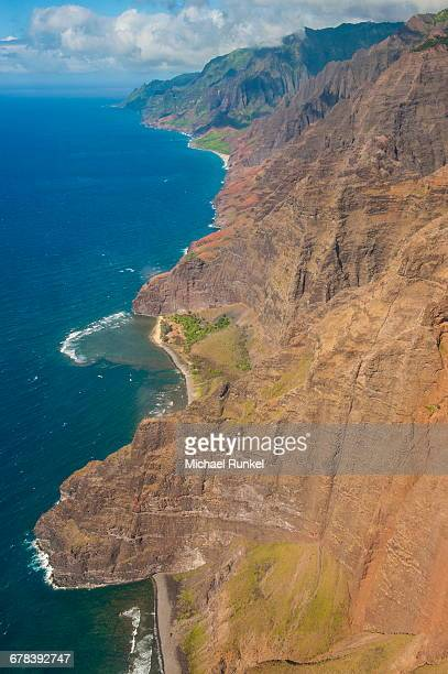 aerial of the rugged napali coast, kauai, hawaii, united states of america, pacific - michael stock photos and pictures
