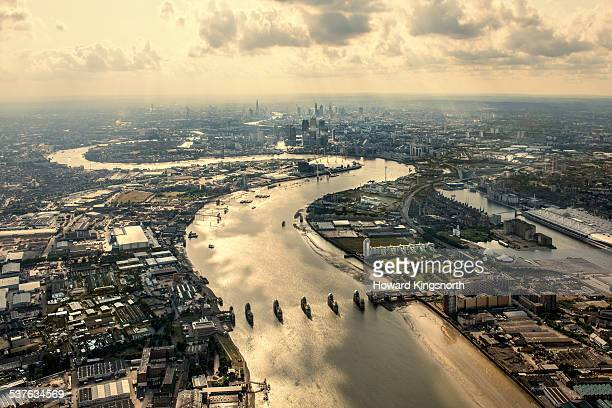 aerial of the thames and thames barrier - greenwich london stock pictures, royalty-free photos & images