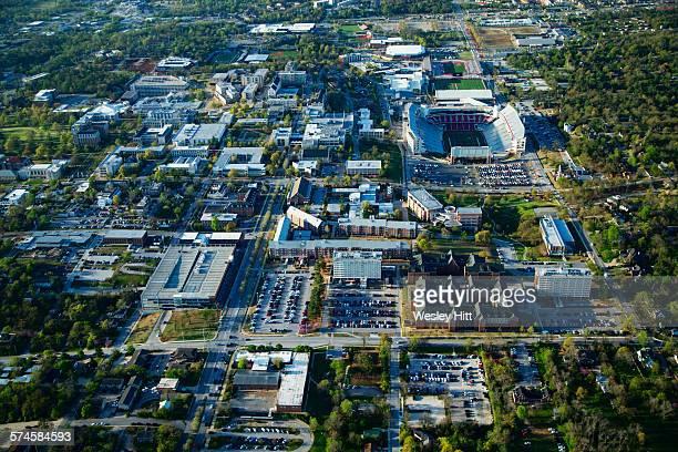 aerial of the university of arkansas - ファイアットヴィル ストックフォトと画像