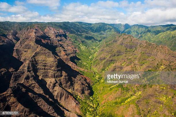 aerial of the waimea canyon, kauai, hawaii, united states of america, pacific - michael stock photos and pictures