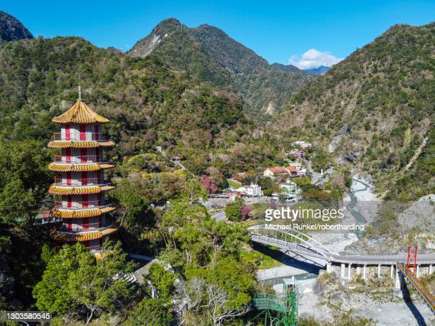 aerial of tianfeng pagoda and tianxiang recreational area, taroko national park, hualien county, taiwan, asia - hualien county stock pictures, royalty-free photos & images