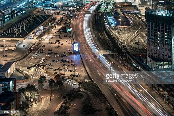 Aerial of urban motorways at night