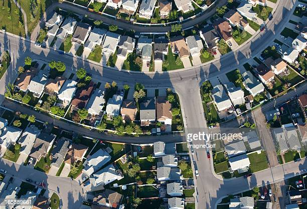aerial of urban neighbourhood with residential community - calgary stock pictures, royalty-free photos & images