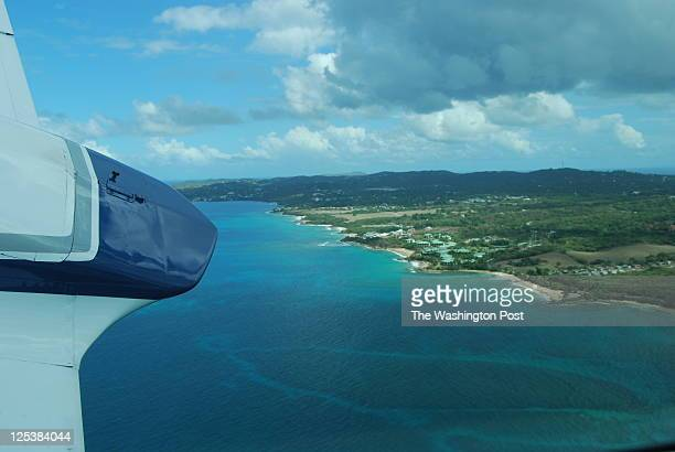 Aerial of Vieques Island Puerto Rico from a small plane