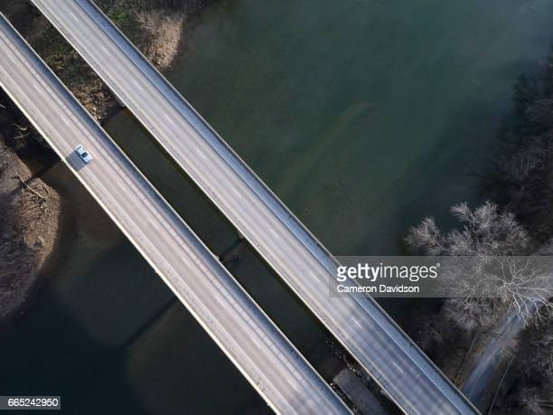 aerial of virginia highway bridge - parallel stock photos and pictures