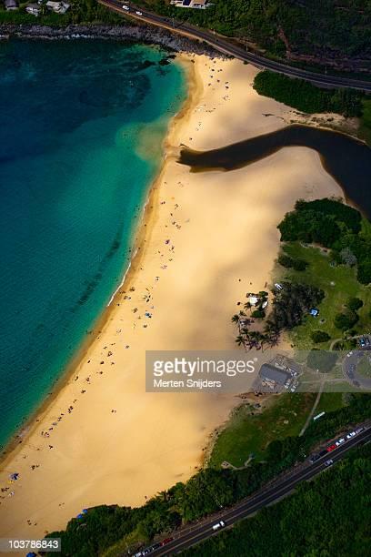 aerial of waimea bay beach park on busy day. - waimea bay - fotografias e filmes do acervo