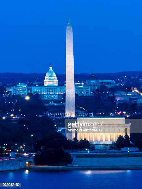 Night view of Washington DC Monuments and US Capitol  New 8x10 Photo