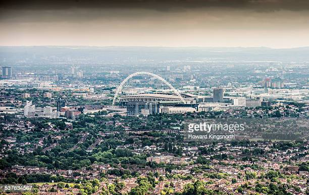 aerial of wembly stadium - arch stock pictures, royalty-free photos & images