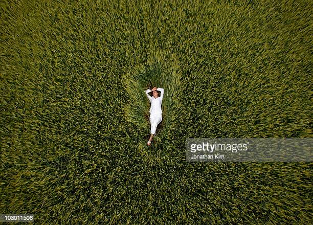 Aerial of woman in wheat field