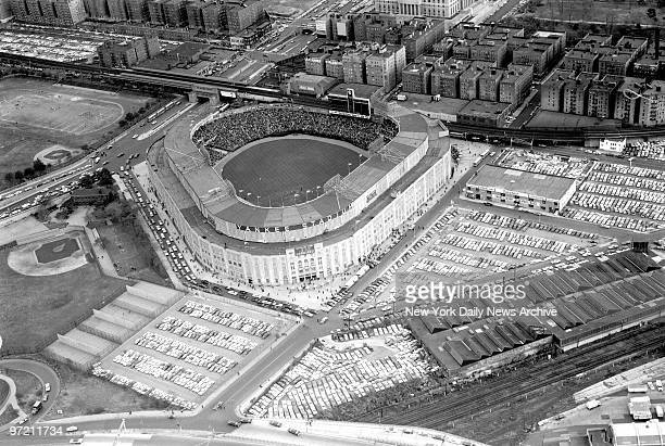 Aerial of Yankee Stadium during third game of World Series against the St Louis Cardinals