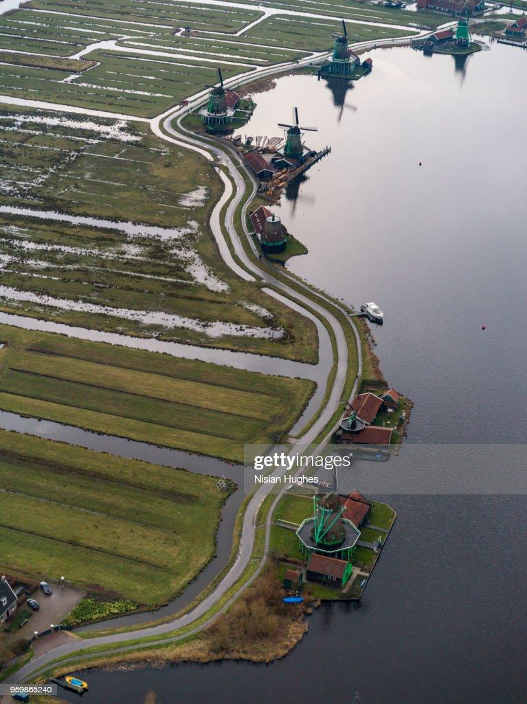 Aerial of Zaanse Schans windmills in Amsterdam : Stock-Foto