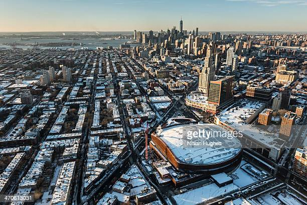 aerial over brooklyn in the snow - barclays center brooklyn stock pictures, royalty-free photos & images
