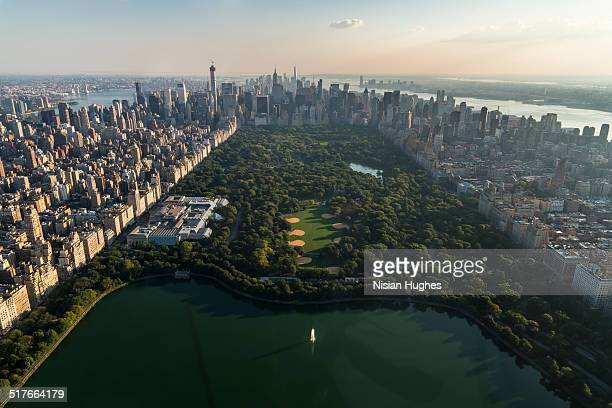 Aerial over Central Park looking at Manhattan