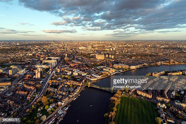 aerial over hammersmith bridge - river thames stock pictures, royalty-free photos & images
