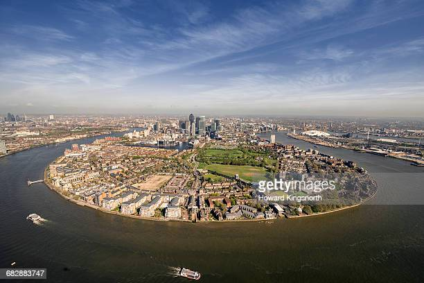 Aerial over Isle of Dogs and River Thames