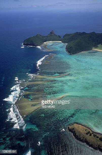 aerial over lord howe island lagoon, new south wales