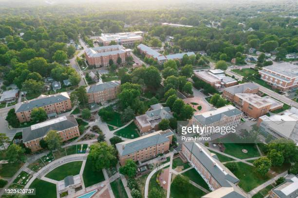 aerial over north carolina central university in the spring - duke stock pictures, royalty-free photos & images