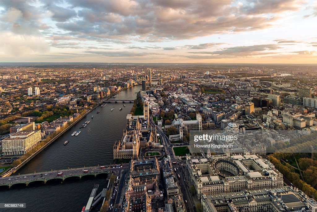 Aerial over Parliament and River Thames : Stock Photo