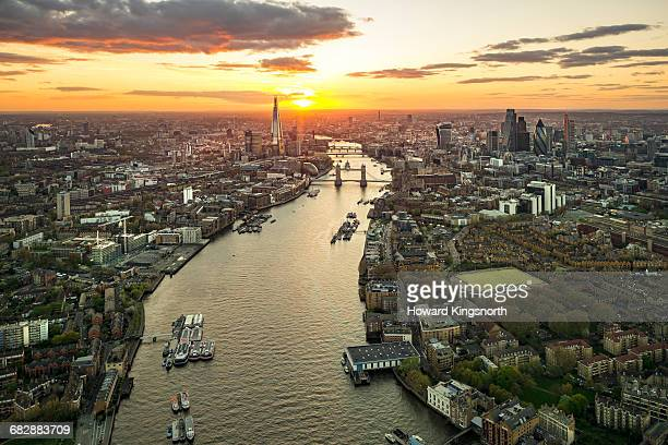 Aerial over Tower Bridge at sunset