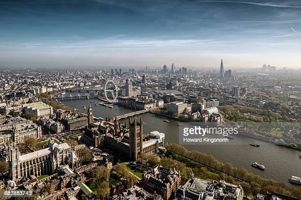 Aerial over Westminster and River Thames