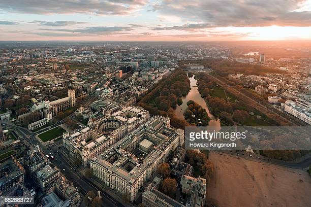 Aerial over Whitehall and St James' Park