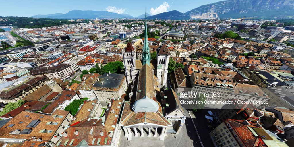 Aerial Panorama above St. Peter Cathedral in Geneva : Stock Photo