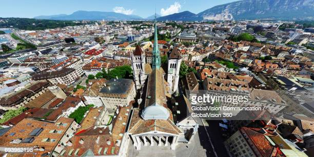 Aerial Panorama above St. Peter Cathedral in Geneva