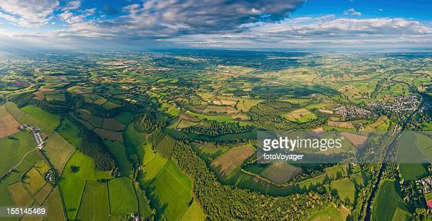 Aerial panorama green summer farms villages