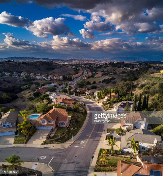 Aerial Panorama of a Suburban Street in California