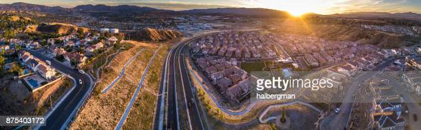 aerial panorama of american suburb - santa clarita stock pictures, royalty-free photos & images