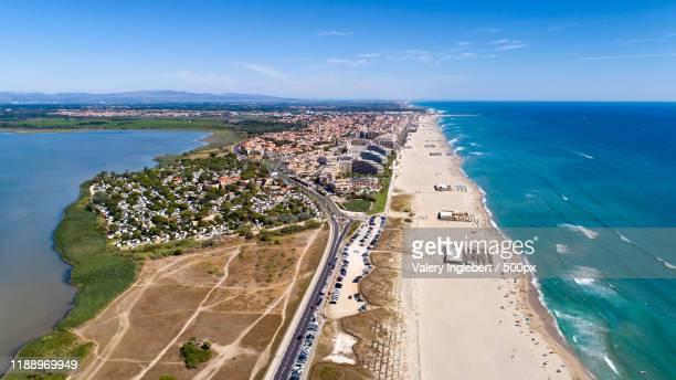 aerial panorama of canet en roussilon - loire atlantique photos et images de collection