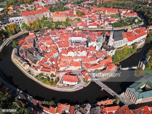 Aerial panorama of Cesky Krumlov